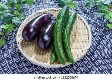 Freshly picked vegetables, Cucumber and Eggplant
