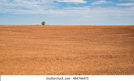 Freshly plowed farm field with a cloudy sky above.