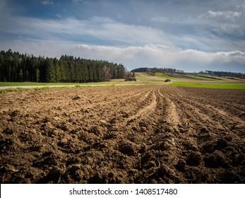 Freshly plowed fields in spring in the Waldviertel in Austria