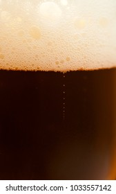 freshly poured beer macro background
