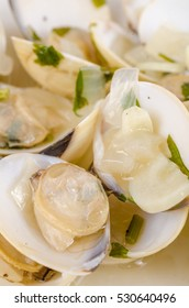 Freshly prepared clams seasoned with olive oil and parsley, a Spanish tapa