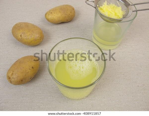 Freshly pressed raw potato juice