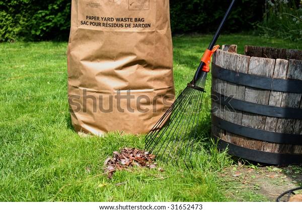 Freshly raked backyard, with rake, leaves and recycling yard waste paper bag