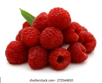 freshly red raspberry on white background