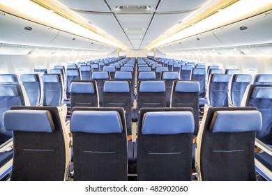 Freshly renovated interior of big illuminated airplane