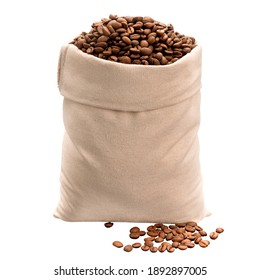 freshly roasted coffee beans in a bag made of natural fabric on a white isolated background