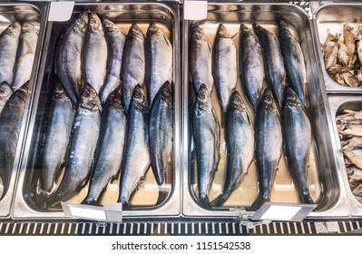 freshly salted herring in market