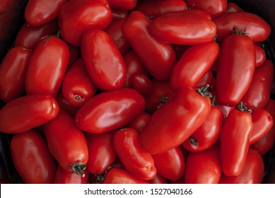 Freshly San Marzano tomatoes, Red tomatoes background. Group of tomatoes Suitable for making background images.