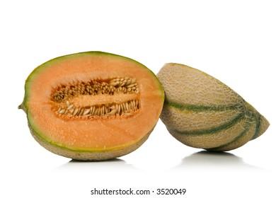 freshly sliced melon over white background