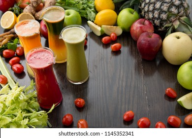 freshly squeezed fruits and vegetables juices. Cold press juice.