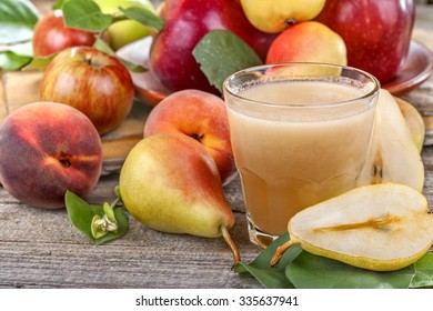 freshly squeezed juice made from organic and healthy pears, apples and peaches