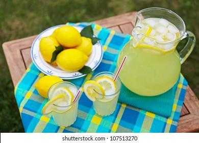 Freshly squeezed lemonade on a hot summer day.