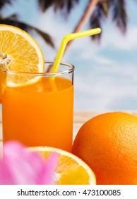 Freshly Squeezed Orange Representing Vitamin C And Refreshment