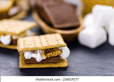 Freshly toasted smores with large white marshmallows.