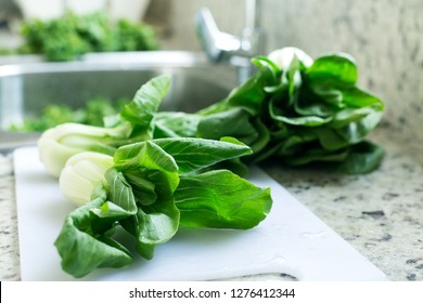 Freshly washed green bok choy leaves in kitchen, organic healthy food