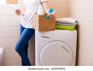 Freshly washed laundry with detergent and fabric softener