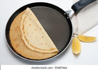 Freshly-made crepe on the pan