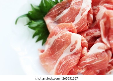 Freshness sliced pork on Shiso from Japan