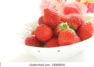freshness strawberry from japan on white background with copy space