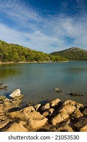 Freshwater lake on Adriatic sea island