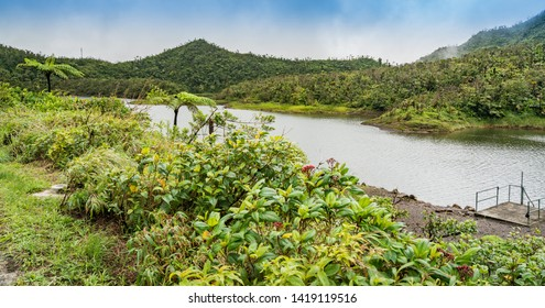 Freshwater Lake Views around the caribbean island of Dominica West indies