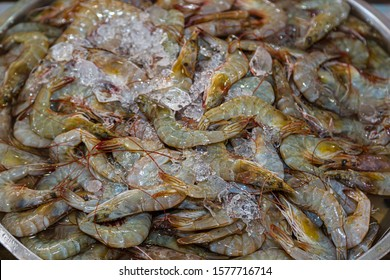 Freshwater prawns on ice on a market in Thailand