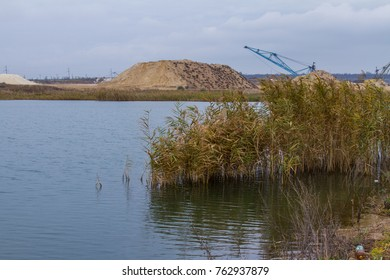 Freshwater reservoir in the Tavri steppe in the Zaporozhye region of Ukraine. November 2017