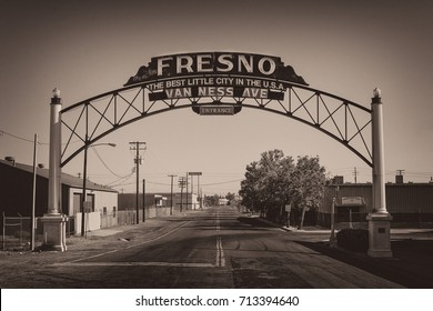FRESNO, CALIFORNIA - JULY 30: Fresno Best Little City in the U.S.A. sign on Van Ness Avenue on July 30, 2017 in Fresno, California