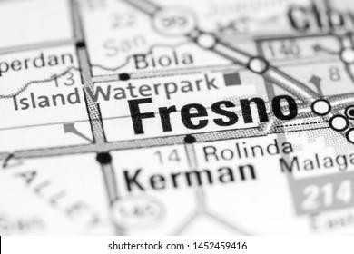 Fresno. California. USA on a map