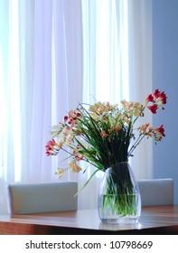 fressias on a table