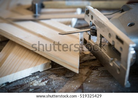 Fretsaw Hammer Knife Tongue Groove Boards Stock Photo Edit Now