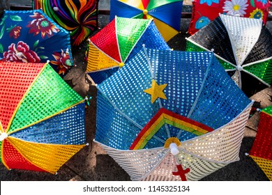 Frevo Umbrella with Pernambuco flag, Colorful Brazilian Carnival decoration in the city of Olinda, Pernambuco, Brazil.