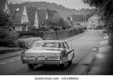 Frickenhausen, Germany - May 19, 2019: Cadillac Sedan De Ville american oldtimer car at the 25. International Oldtimer-Rallye event.