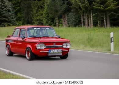 Frickenhausen, Germany - May 19, 2019: NSU TT german oldtimer car at the 25. International Oldtimer-Rallye event.