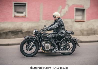 Frickenhausen, Germany - May 19, 2019: Oldtimer motorcycle at the 25. International Oldtimer-Rallye event.