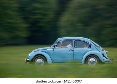 Frickenhausen, Germany - May 19, 2019: Volkswagen Beetle 1303 german oldtimer car at the 25. International Oldtimer-Rallye event.