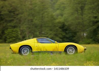 Frickenhausen, Germany - May 19, 2019: Lamborghini Miura italian oldtimer sports car at the 25. International Oldtimer-Rallye event.