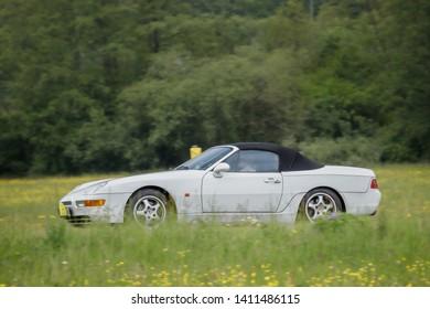 Frickenhausen, Germany - May 19, 2019: Porsche 968 german oldtimer car at the 25. International Oldtimer-Rallye event.