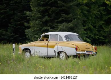 Frickenhausen, Germany - May 19, 2019: Wartburg 312 german oldtimer car at the 25. International Oldtimer-Rallye event.