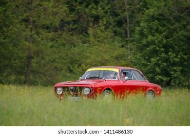 Frickenhausen, Germany - May 19, 2019: Alfa Romeo Giulia italian oldtimer car at the 25. International Oldtimer-Rallye event.