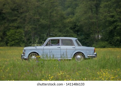 Frickenhausen, Germany - May 19, 2019: NSU Fiat Neckar Spezial oldtimer car at the 25. International Oldtimer-Rallye event.