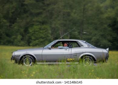 Frickenhausen, Germany - May 19, 2019: Toyota Celica japanese oldtimer car at the 25. International Oldtimer-Rallye event.