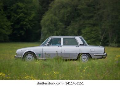 Frickenhausen, Germany - May 19, 2019: Alfa Romeo italian oldtimer car at the 25. International Oldtimer-Rallye event.