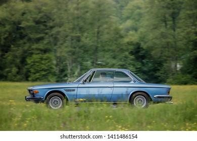 Frickenhausen, Germany - May 19, 2019: BMW 3.0 CSi german oldtimer car at the 25. International Oldtimer-Rallye event.