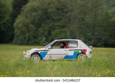 Frickenhausen, Germany - May 19, 2019: Peugeot Gutmann 205 Turbo 8S french oldtimer rallye car at the 25. International Oldtimer-Rallye event.