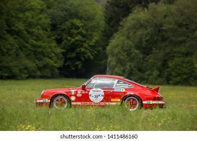 Frickenhausen, Germany - May 19, 2019: Porsche 911 german oldtimer car at the 25. International Oldtimer-Rallye event.