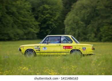 Frickenhausen, Germany - May 19, 2019: BMW Alpina german oldtimer car at the 25. International Oldtimer-Rallye event.