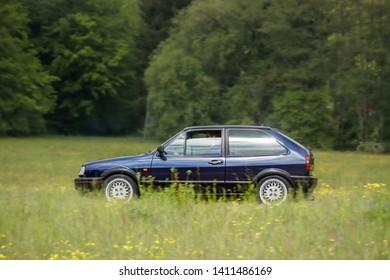 Frickenhausen, Germany - May 19, 2019: Volkswagen Polo german oldtimer car at the 25. International Oldtimer-Rallye event.