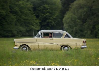 Frickenhausen, Germany - May 19, 2019: Opel Rekord german oldtimer car at the 25. International Oldtimer-Rallye event.