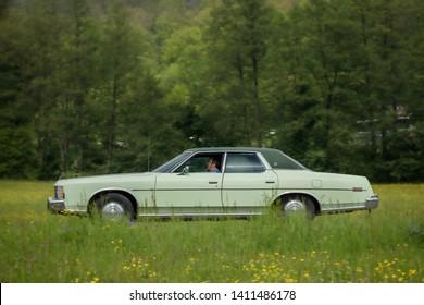 Frickenhausen, Germany - May 19, 2019: Ford LTD american oldtimer car at the 25. International Oldtimer-Rallye event.